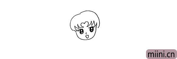 4.再画出美少女头部的刘海。