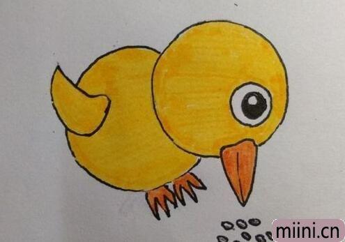 小鸡啄米图简笔画步骤教程