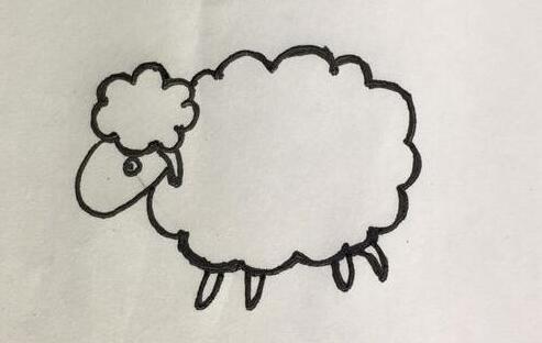 可爱的小绵羊简笔画步骤教程
