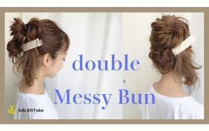 杂志上正流行的双丸子头发型