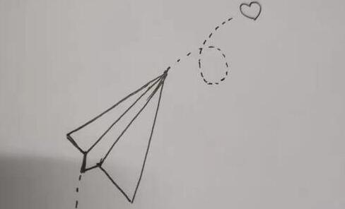 飞出爱心的纸飞机简笔画步骤教程