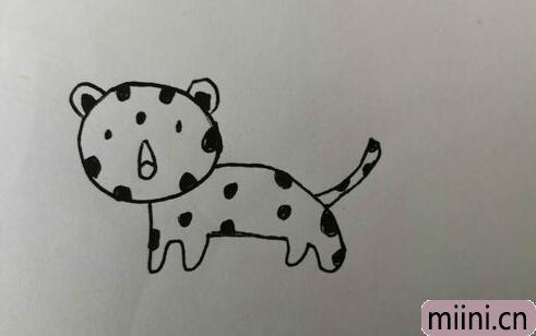 跑的非常快的美洲豹简笔画步骤教程