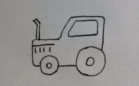 帮助农民伯伯春耕的拖拉机简笔画步骤教程