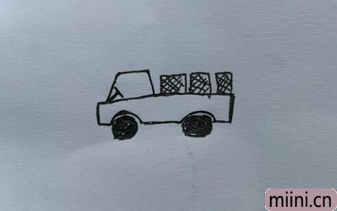 可以装很多货物的小货车简笔画步骤教程