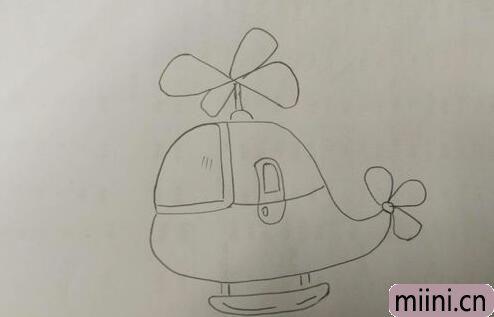 遨游天空的直升飞机简笔画步骤教程