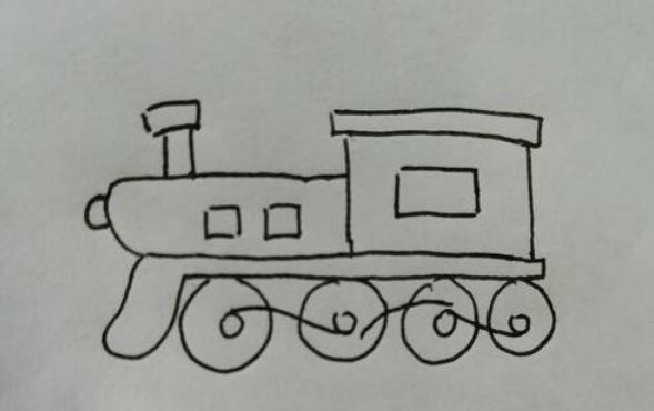 跑的飞快的火车头简笔画步骤教程