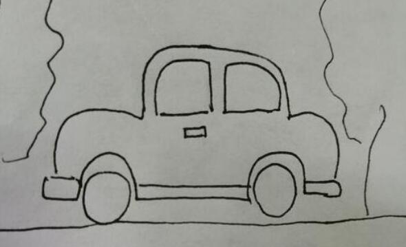 行驶在乡村小路上的小汽车简笔画步骤教程