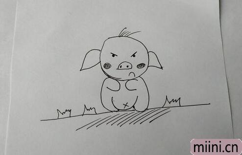 生气的小猪简笔画步骤教程