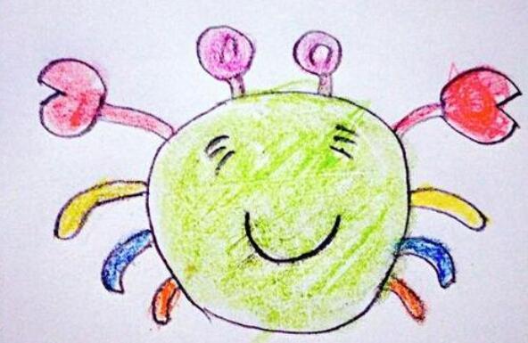 彩色的小螃蟹简笔画步骤教程