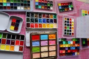 十几种水彩颜料测评给bjd娃娃化妆效果