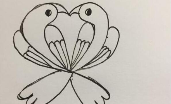 两只小鸟组成爱心的简笔画步骤教程