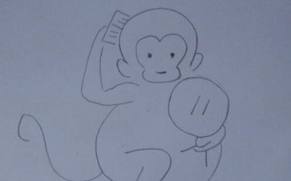 调皮的小猴子照镜子梳头简笔画步骤教程