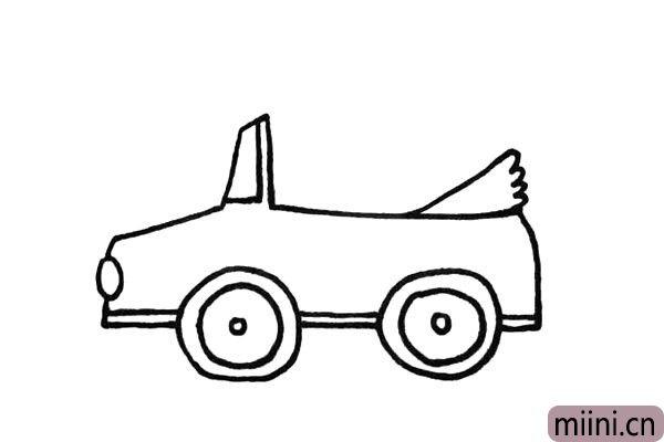 6.画出车子的挡风玻璃和车篷.注意观察位置。