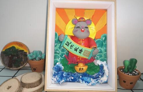 老鼠拜年鼠年粘土画的制作步骤教程
