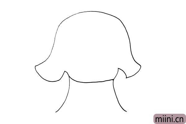 3.然后画出宽宽的蘑菇柄.是房屋的身子。