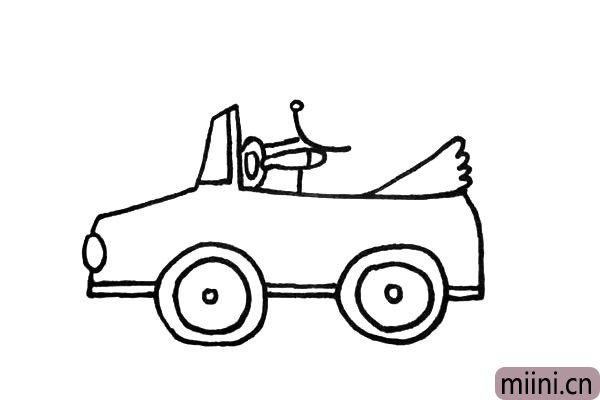 8.然后在画出司机的脸颊和前胸.慢慢的画仔细的观察。