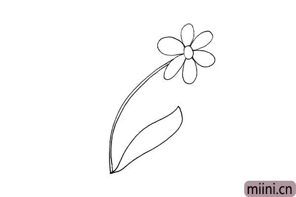 4.然后用曲线勾落出太阳花的叶子.注意它的形状变化。