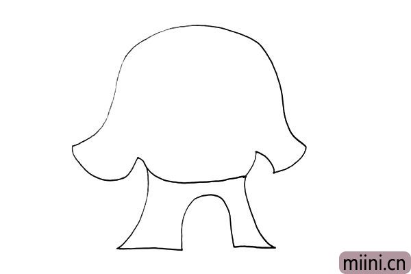 4.接着勾落出一个门的形状.线条要画的圆润一些。