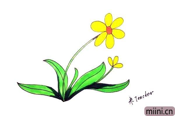 9.最后我们把画好的太阳花涂上漂亮的颜色吧。