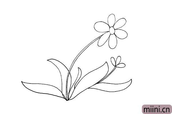 7.在右边花朵下方在画出一片叶子。