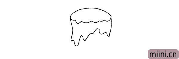 3.在顶部的下方用不规则的波浪线画出向下流的蜡油。