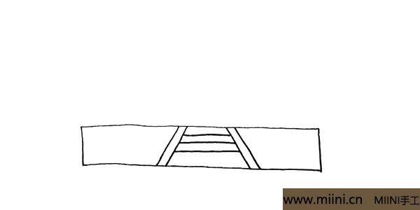 2.在长方形的中间用线条画出台阶.注意台阶的变化。