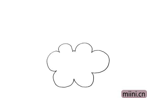 1.首先我们画出一朵稍微大一点的云朵。
