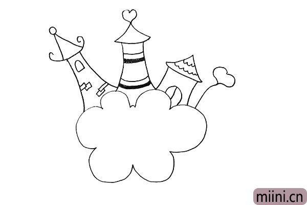 12.接着我们在右边画上一个心形的小花。