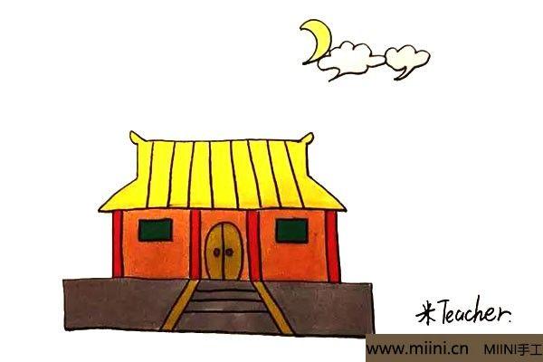 9.最后我们给画好的寺庙涂上漂亮的颜色。