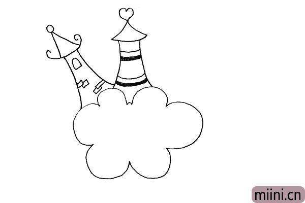 8.在中间的城堡顶上画一个爱心装饰一下。