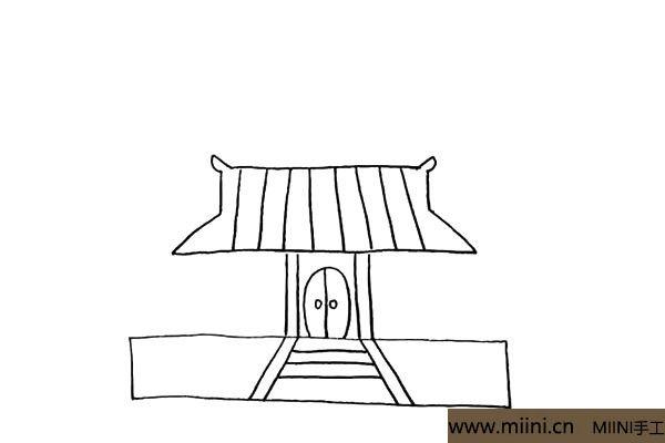 5.然后用线条把屋顶的纹理给勾勒出来。