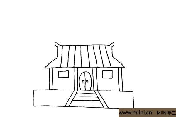 7.在门的两边画上两扇窗户.注意窗户的位置。