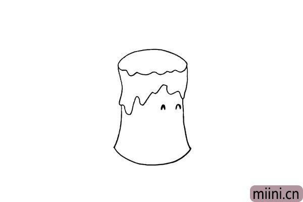 5.给蜡烛加上表情.先把眉毛给描绘出来。