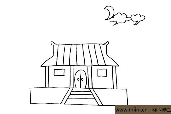 8.接着在屋顶的上方画上一个弯弯的月亮和两片云朵。