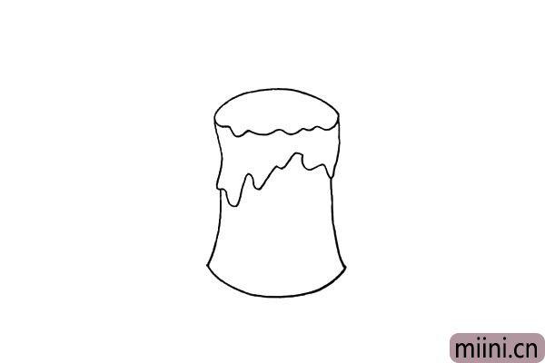 4.用曲线把蜡烛的蜡柱给勾勒出来.注意形状。