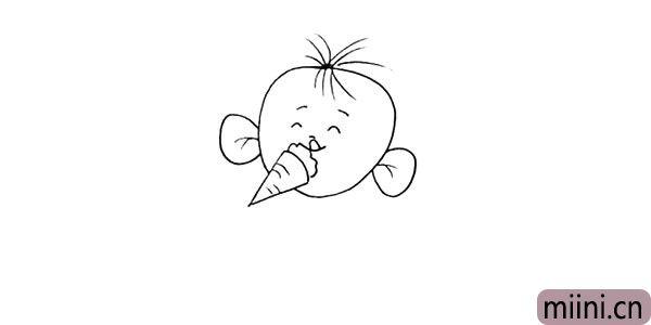 5.在头部的缺口出画一个冰淇淋.他最喜欢吃的冰淇淋。