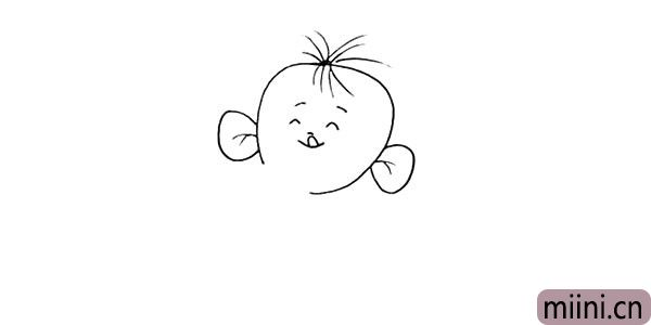 4.还有它头顶的毛发.注意线条的方向。