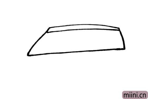 2.再把整体的车窗给勾勒出来注意线条的方向。