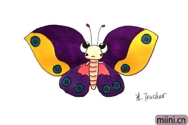 18.最后我们给画好的蝴蝶涂上漂亮的颜色吧。
