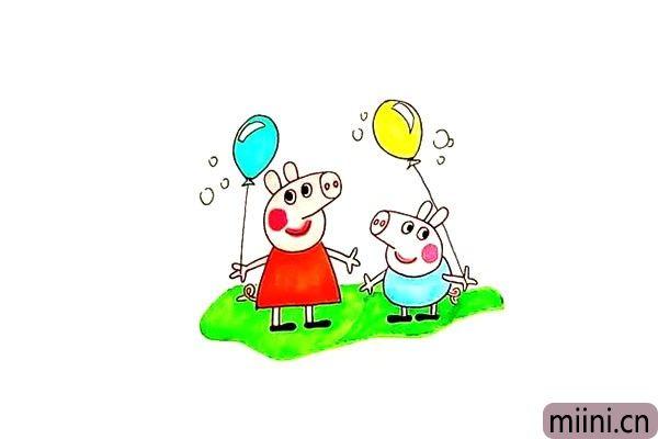 小猪佩奇和他的弟弟乔治简笔画步骤教程