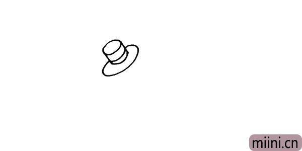 2.围绕冒顶的下方画出帽檐线条要画的圆润一些。
