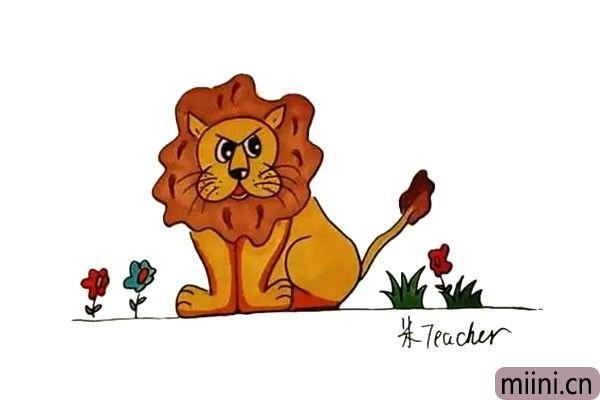 13.最后我们把画好的狮子涂上漂亮的颜色吧。