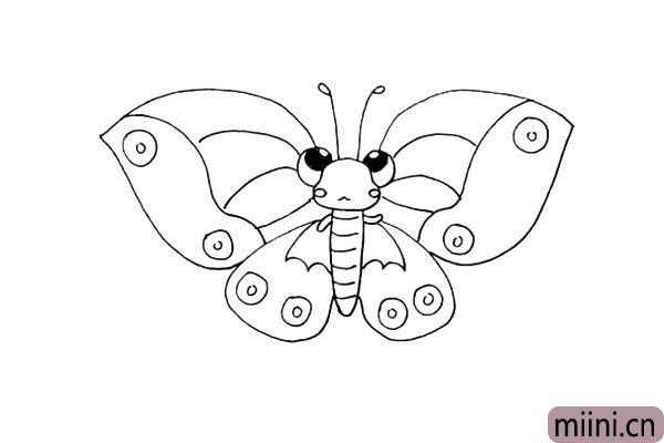 16.然后在翅膀上面画上一些线条.是翅膀上的纹理。