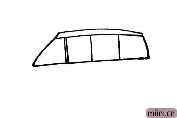 3.然后画上几条竖线把车窗玻璃给勾勒出来。