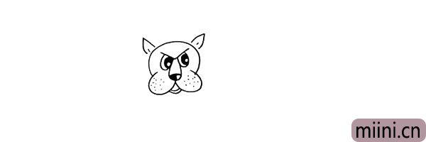 6.在头部上方画上两只竖起来的耳朵。