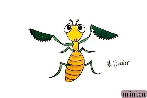 14.最后我们给画好的螳螂涂上漂亮的颜色吧。