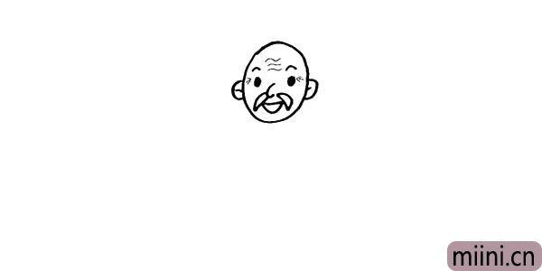第六步.在头部两侧画出爷爷的耳朵。
