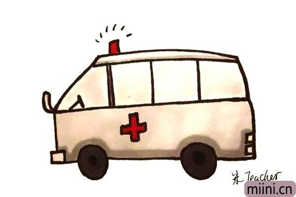 10.最后我们把画好的救护车涂上颜色吧。