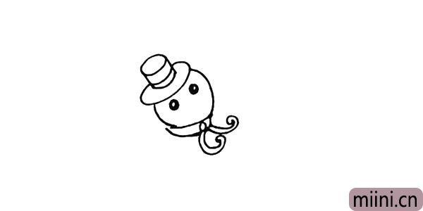 5.再画上雪人圆圆的眼睛记得留出高光。