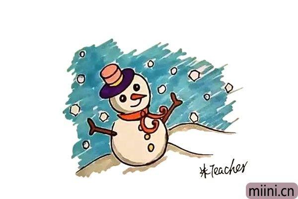 小孩子在雪地里堆得雪人的简笔画步骤教程